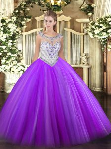 Custom Design Scoop Sleeveless Tulle Sweet 16 Dress Beading Zipper