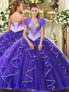Floor Length Ball Gowns Cap Sleeves Purple Quinceanera Gowns Lace Up