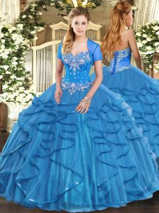 Beautiful Floor Length Baby Blue Quinceanera Dresses Tulle Sleeveless Beading and Ruffles