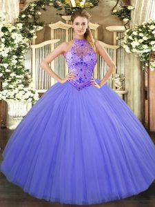 Romantic Lavender Halter Top Lace Up Beading and Embroidery Sweet 16 Quinceanera Dress Sleeveless