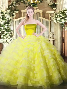 Sleeveless Tulle Floor Length Zipper 15 Quinceanera Dress in Yellow with Ruffled Layers