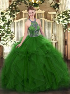 Green Lace Up Halter Top Beading and Ruffles Sweet 16 Quinceanera Dress Tulle Sleeveless