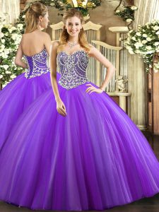 Floor Length Lavender Quinceanera Dresses Sweetheart Sleeveless Lace Up