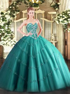 Superior Sweetheart Sleeveless Lace Up Quinceanera Gown Teal Tulle