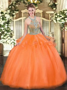 Floor Length Lace Up Sweet 16 Dresses Orange Red for Military Ball and Sweet 16 and Quinceanera with Beading and Ruffles
