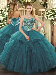 Chic Sleeveless Floor Length Beading and Ruffles Lace Up Ball Gown Prom Dress with Turquoise