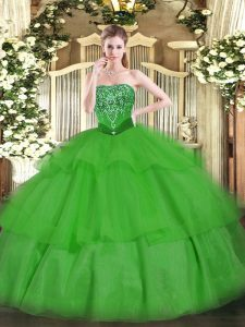 Green Sleeveless Floor Length Beading and Ruffled Layers Lace Up Quinceanera Gowns