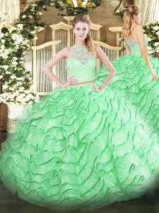 Glamorous Sleeveless Tulle Brush Train Zipper Quinceanera Dress in Apple Green with Lace and Ruffles