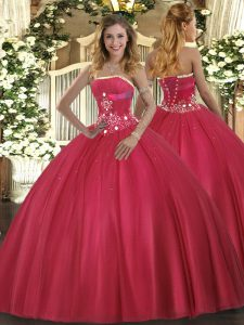 High Quality Tulle Sleeveless Floor Length 15th Birthday Dress and Beading