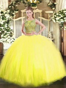 Popular Scoop Sleeveless Lace Up Quince Ball Gowns Yellow Tulle