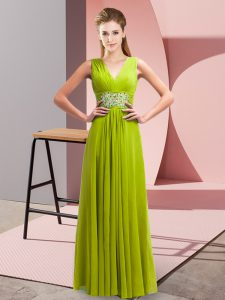 Extravagant V-neck Sleeveless Chiffon Dress for Prom Beading Lace Up