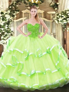 Yellow Green 15 Quinceanera Dress Military Ball and Sweet 16 and Quinceanera with Lace Sweetheart Sleeveless Lace Up