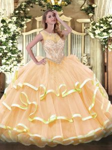 Peach Ball Gowns Scoop Sleeveless Organza Floor Length Zipper Beading and Ruffled Layers Sweet 16 Dress