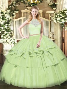 Lace and Ruffled Layers Sweet 16 Dress Olive Green Zipper Sleeveless Floor Length