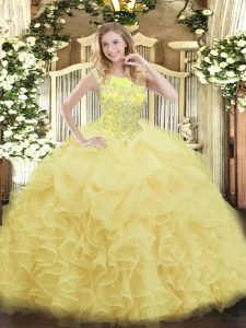 High End Organza Scoop Sleeveless Zipper Beading and Ruffles Quince Ball Gowns in Yellow