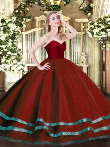 Sweetheart Sleeveless Zipper Quinceanera Dress Wine Red Tulle
