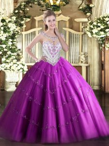 Fuchsia Sleeveless Tulle Zipper Ball Gown Prom Dress for Military Ball and Sweet 16 and Quinceanera