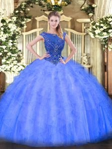 Blue Zipper Scoop Beading and Ruffles Sweet 16 Quinceanera Dress Tulle Sleeveless