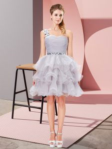 Grey One Shoulder Lace Up Beading and Ruffled Layers Homecoming Dress Sleeveless