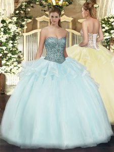 Customized Floor Length Apple Green Sweet 16 Quinceanera Dress Tulle Sleeveless Beading and Ruffles