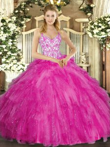 Flirting Fuchsia Sleeveless Appliques and Ruffles Floor Length Sweet 16 Dresses