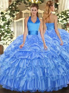 Customized Floor Length Baby Blue Quinceanera Gowns Halter Top Sleeveless Lace Up