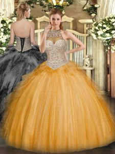 Stunning Orange Quinceanera Dresses Military Ball and Sweet 16 and Quinceanera with Beading and Ruffles Halter Top Sleeveless Lace Up
