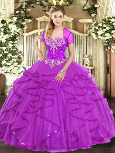 Beading and Ruffles Quinceanera Dress Fuchsia Lace Up Sleeveless Floor Length