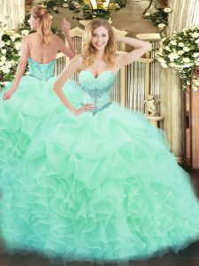 Apple Green Sweetheart Lace Up Beading and Ruffles and Pick Ups Quince Ball Gowns Sleeveless