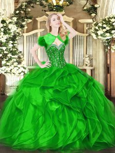 Gorgeous Floor Length Green 15 Quinceanera Dress Sweetheart Sleeveless Lace Up