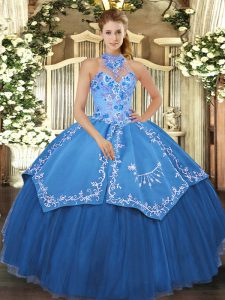 Best Halter Top Sleeveless Satin and Tulle Quinceanera Dresses Beading and Embroidery Lace Up