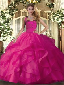 Smart Hot Pink Ball Gowns Halter Top Sleeveless Tulle Floor Length Lace Up Ruffles Quinceanera Dress