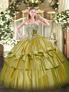 Fancy Floor Length Ball Gowns Sleeveless Olive Green 15 Quinceanera Dress Lace Up