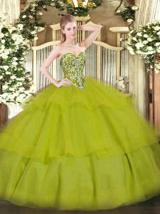 Olive Green Sleeveless Floor Length Beading and Ruffled Layers Lace Up Sweet 16 Dress