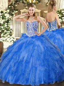 Glittering Blue Ball Gowns Tulle Sweetheart Sleeveless Beading and Ruffles Floor Length Lace Up Sweet 16 Dresses