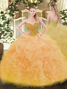 Floor Length Ball Gowns Sleeveless Gold Vestidos de Quinceanera Lace Up