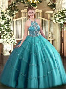 On Sale Ball Gowns Quinceanera Gowns Teal Halter Top Tulle Sleeveless Floor Length Lace Up