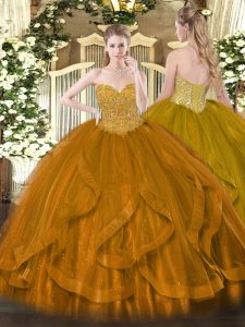 Sweetheart Sleeveless Lace Up Quinceanera Gown Gold Organza