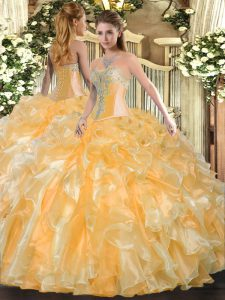 Sweetheart Sleeveless Quinceanera Dresses Floor Length Beading and Ruffles Gold Organza