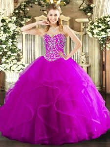 Sweetheart Sleeveless Tulle Sweet 16 Quinceanera Dress Beading and Ruffles Lace Up
