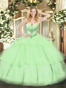 Tulle Sleeveless Floor Length Quinceanera Gowns and Beading and Ruffled Layers
