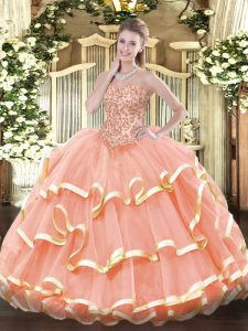 Adorable Sleeveless Lace Up Floor Length Appliques and Ruffled Layers Quinceanera Gowns