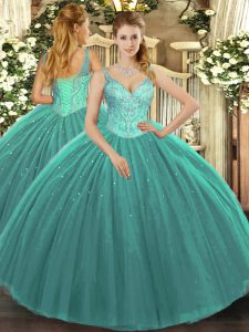 Turquoise Ball Gowns Beading Quinceanera Gown Lace Up Tulle Sleeveless Floor Length