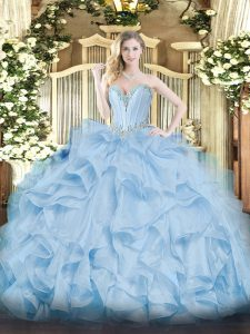 Simple Blue Sweetheart Lace Up Beading and Ruffles Quinceanera Dresses Sleeveless