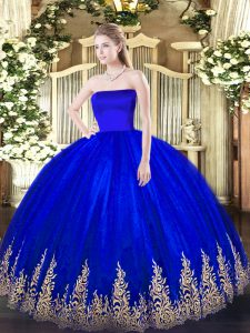 Blue Ball Gowns Tulle Strapless Sleeveless Appliques Floor Length Zipper Quinceanera Dresses