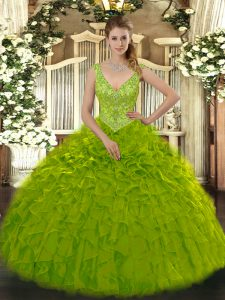 Olive Green Ball Gowns V-neck Sleeveless Organza Floor Length Zipper Beading and Ruffles Sweet 16 Dress
