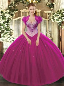Floor Length Lace Up 15 Quinceanera Dress Fuchsia for Military Ball and Sweet 16 and Quinceanera with Beading