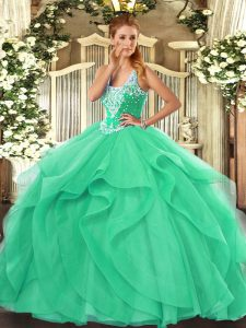 Cheap Turquoise Lace Up Quinceanera Dresses Beading and Ruffles Sleeveless Floor Length