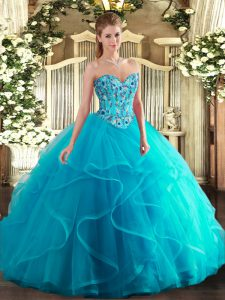 Aqua Blue Sweetheart Lace Up Embroidery and Ruffles Sweet 16 Dresses Sleeveless