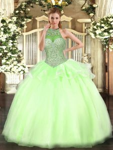 Shining Yellow Green Lace Up Quinceanera Gowns Beading Sleeveless Floor Length